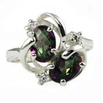 SR016, Mystic Fire Topaz, 925 Sterling Silver Ring