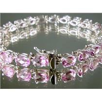 SB001, Pure Pink Topaz,  Sterling Silver Bracelet
