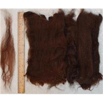 "Llama wool Nat. Dark brown washed,6-12"" long doll hair -spinning-felt 1oz 25063"