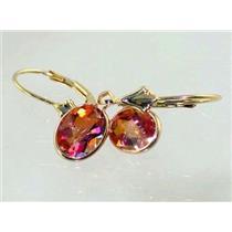 E001, Twilight Fire Topaz, 14k Gold Earrings