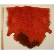 deep orange Tibetan lambskin scrap sample size 25363