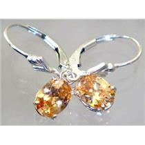 Champagne CZ, 925 Sterling Silver Earrings, SE007