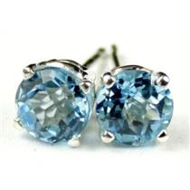 Swiss Blue Topaz, 925 Sterling Silver Earrings, SE012