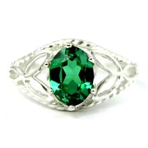SR137, Russian Nanocrystal Emerald, 925 Sterling Silver Ring