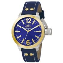 Invicta 7323 Mens Signature Sport Blue Dial Goldtone Bezel Leather Strap Watch