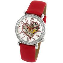 Stuhrling 109S 1215H2 Venus Automatic Skeleton Heart Diamond Bezel Womens Watch