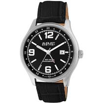 August Steiner AS8008SS Date Stainless Steel Leather Strap Mens Watch