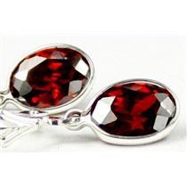 SE001, Garnet CZ, 925 Sterling Silver Earrings