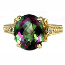 R136, Mystic Fire Topaz, Gold Ring