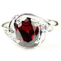 SR021, Garnet CZ, 925 Sterling Silver Ring