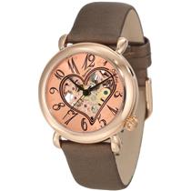 Stuhrling 109 1245E14 Open HEART Cupid II Rose GP Brown Automatic Womens Watch