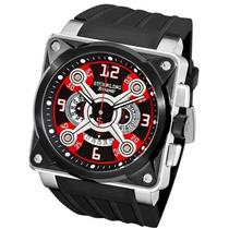 AUCTION Stuhrling Extreme 321 Raven Crossfire Red Square Chronograph Mens Watch