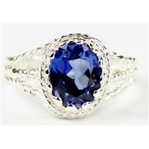Created Blue Sapphire, 925 Sterling Silver Ring, SR070