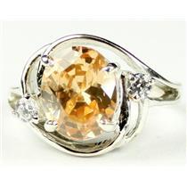 SR021, Champagne CZ, 925 Sterling Silver Ring