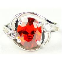 SR021, Created Padparadsha Sapphire, 925 Silver Ring
