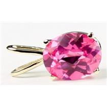P002, Created Pink Sapphire 14K Gold Pendant