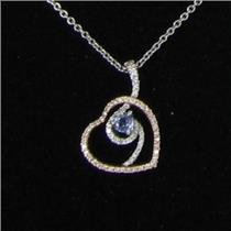 18k White & Yellow Gold Heart Pendant Necklace 0.25cts Diamond Blue Tanzanite