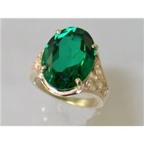 R057, Russian Nanocrystal Emerald, Gold Ring