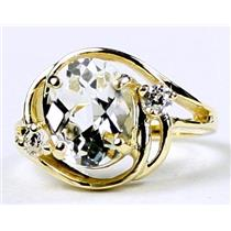 R021, Silver Topaz, Gold Ring