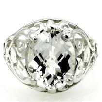 Silver Topaz, 925 Sterling Silver Ring, SR004