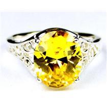SR057, Golden Yellow CZ, 925 Sterling Silver Ring