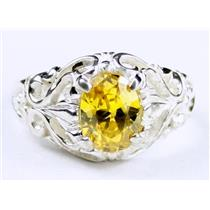 Golden Yellow CZ, 925 Sterling Silver Ring, SR113