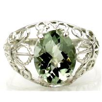 SR162, Green Amethyst, 925 Sterling Silver Ring