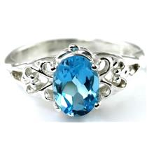 SR302, Swiss Blue Topaz 925 Sterling Silver Ring