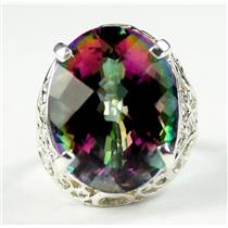 SR291, 22ct Mystic Fire Topaz, 925 Sterling Silver Ring