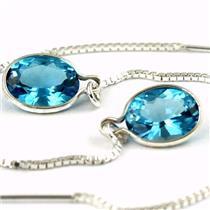 SE005, Swiss Blue Topaz, 925 Sterling Silver Earrings