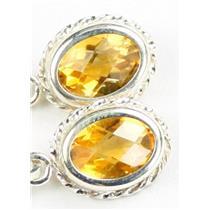 SE006, Citrine, 925 Sterling Silver Rope Earrings