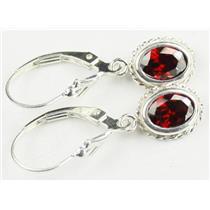 SE006, Garnet CZ, 925 Sterling Silver Rope Earrings