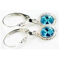 SE006, Glacier Blue CZ, 925 Sterling Silver Rope Earrings
