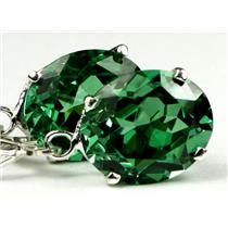 SE207, Created Emerald Spinel, 925 Sterling Silver Earrings