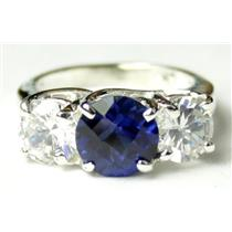 SR255, Created Blue Sapphire w/ Accents, Sterling Silver Ring