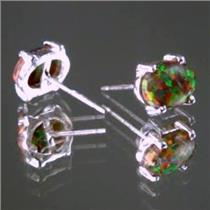 SE002C, Created Red/Brown Opal, 925 Sterling Silver Earrings