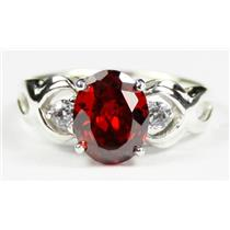 SR243, Garnet CZ, 925 Sterling Silver Ring