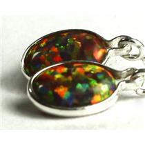 SE005, Created Black Opal, 925 Sterling Silver Threader Earrings