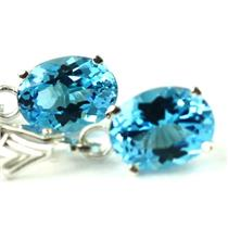 Swiss Blue Topaz, .925 Sterling Silver Leverback Earrings, SE007