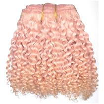 """Light Pink bebe curl - tight curl - mohair weft coarse  6-8"""" x200""""  25783  FP"""
