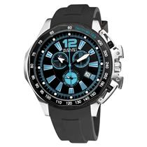 August Steiner AS8003BU Chronograph Date Tachymeter Black Strap Mens Watch