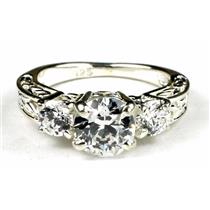 SR254, 6.5mm Cubic Zirconia w/ Accents, 925 Sterling Silver Ring