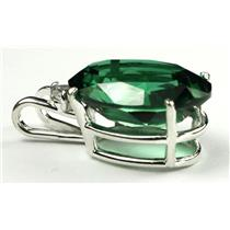 SP085, Created Emerald Spinel, 925 Sterling Silver Pendant