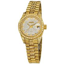 Akribos AK487YG Date Diamond Crystal Accents Stainless Steel Womens Watch