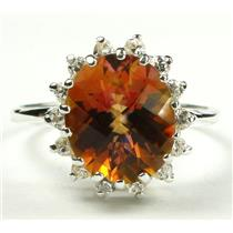 SR283, Twilight Fire Topaz, 925 Sterling Silver Cluster Ring