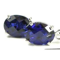 SE003, Created Blue Sapphire, 925 Sterling Silver Threader Earrings