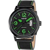 August Steiner AS8012GN Swiss Quartz Date Green Accented Black Mens Watch