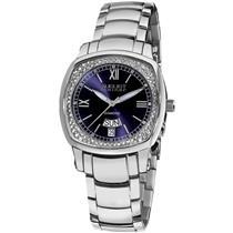 August Steiner AS8016BU Day Date Crystal Bezel Blue Dial Silvertone Womens Watch