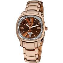 August Steiner AS8016RG Day Date Brown Diamond Dial Rosetone Womens Watch