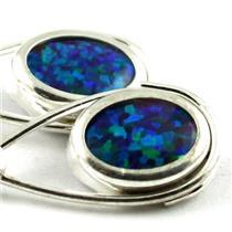 SE008, Created Blue/Green Opal, 925 Silver Earrings